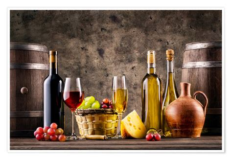 wine grapes barrels  cheese posters  prints