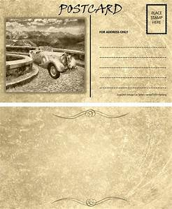 Vintage Empty Blank Motor Car Postcard Template Front Back ...