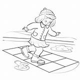 Hopscotch Outline Isolated Spring Boy Play Drawing Squares Asphalt Jumping Drawn Character Cartoon Funny Playing sketch template