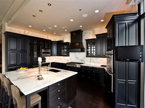 Black Cabinets With Marble Countertops by 15 Astonishing Black Kitchen Cabinets Home Design Lover