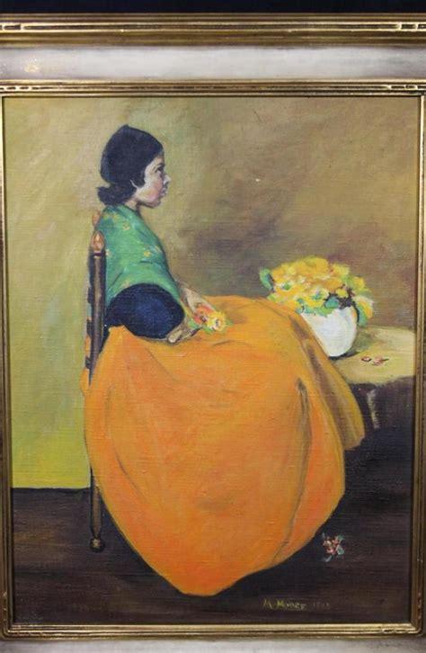 antique portrait oil painting dutch girl  orange