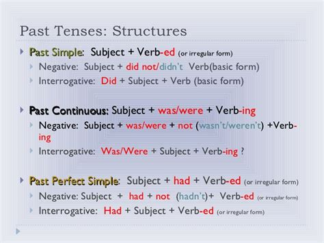 Past Tenses Past Perfect, Past Simple And Continuous