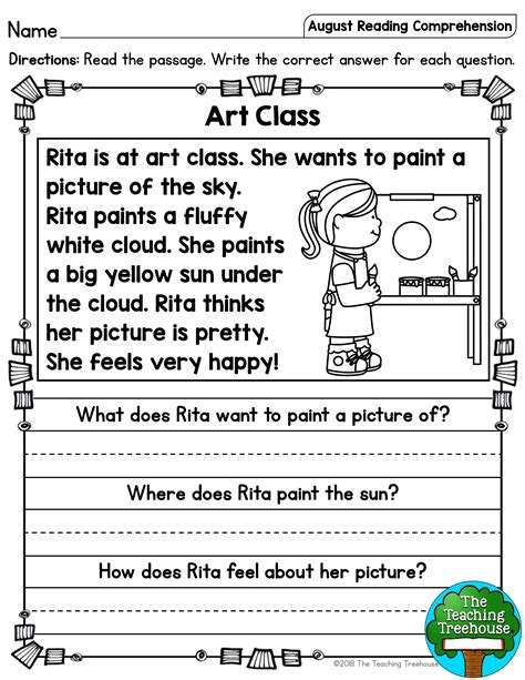 august reading comprehension passages  kindergarten