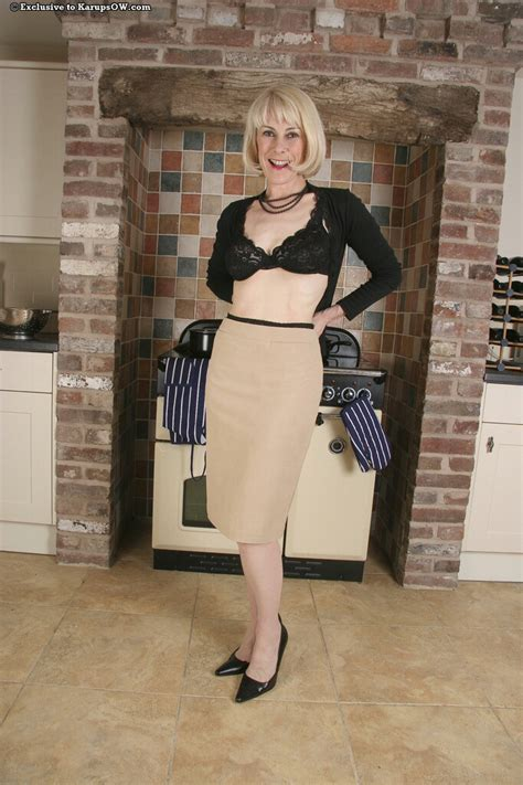 Mature Blonde Hazel May In Nylons And High Heel Shoes