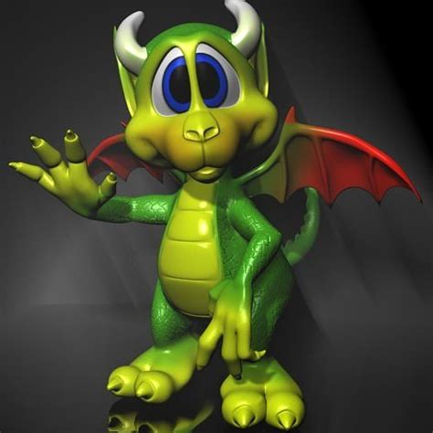 cute cartoon dragon rigged  asset cgtrader