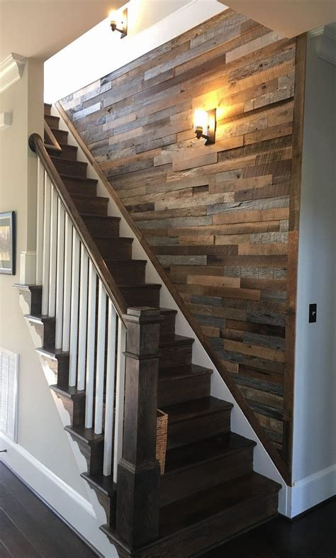 wood strip  wall   stairs