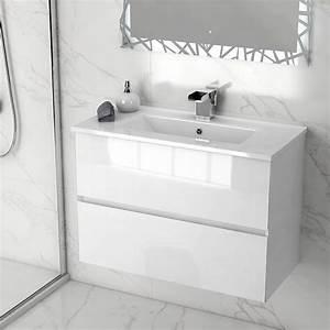 meuble salle de bain 81x39 cm blanc brillant prague m With meuble salle bain blanc