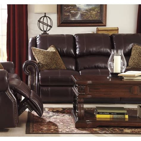 walworth reclining sofa reviews ashley walworth leather power reclining sofa in