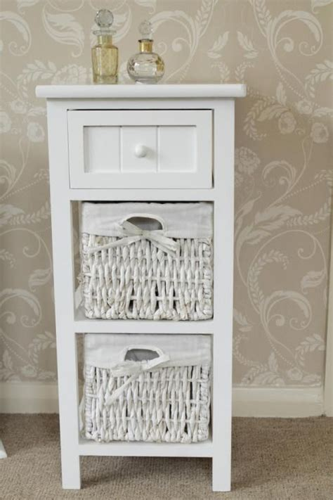 white bathroom wall cabinet with baskets white side cabinet bedside storage unit table basket