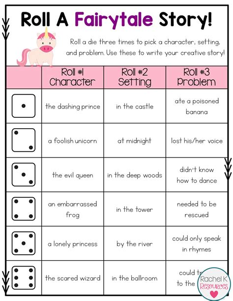 roll a story writing activity starters students and