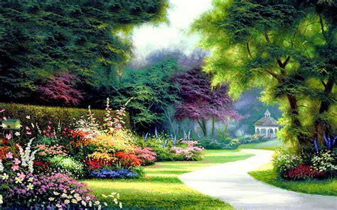 Garden Wallpaper by Pretty Garden Way Bird House Wallpapers Pretty Garden