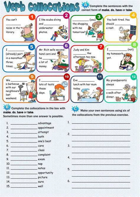 verb collocations interactive worksheet