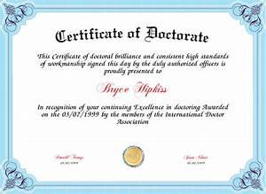 certificate of doctorate certificate created with With doctorate certificate template