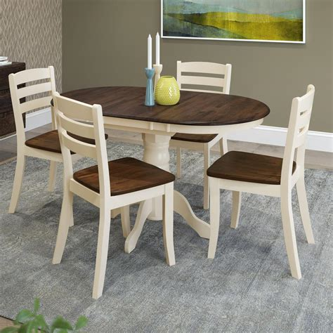 home depot dining room ls corliving dillon 5 piece extendable dark brown and cream