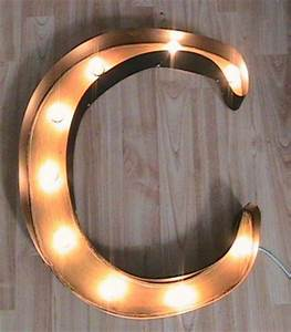 primitive vintage light up marquee sign letter c With light up letter c