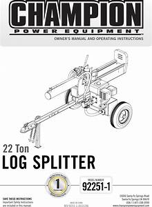 Champion Power Equipment 92251 1 Owners Manual