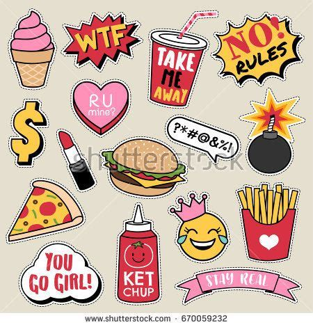 set  fashion patches cute colorful badges fun cartoon