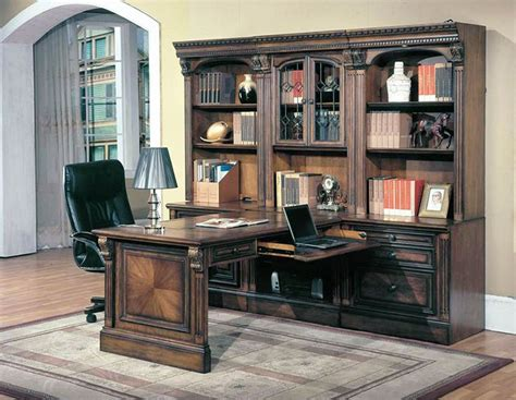 Huntington 7 Piece Peninsula Desk Wall Unit In Chestnut