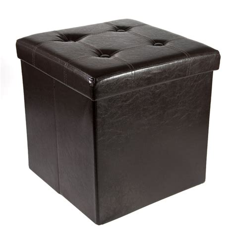 Foldable Storage Ottoman storage ottoman faux leather collapsible foldable seat