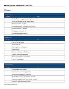 Kindergarten Readiness Checklist Template
