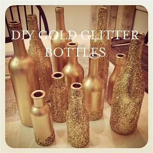 How To: DIY Gold Glitter Centerpiece Bottles Delightful