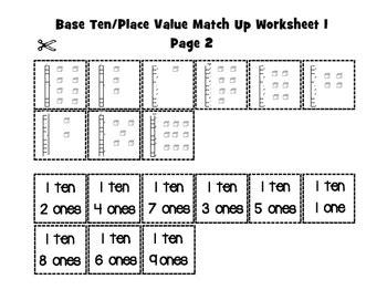base ten cut  paste worksheets  flipbook  lisa