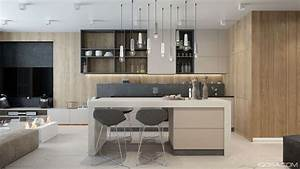 luxury small studio apartment design combined modern and With kitchen cabinet trends 2018 combined with modern minimalist wall art
