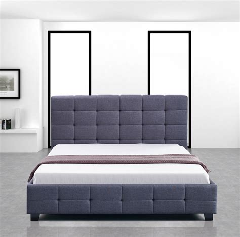 New Palermo Linen Fabric Double Bed Frame And Button