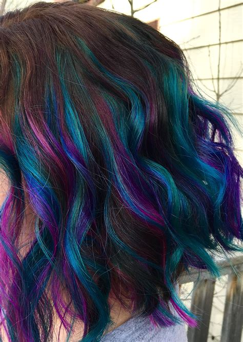 Pink Purple And Teal Balayage Highlights Hair And