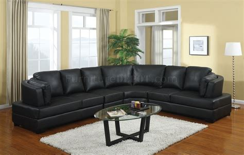 black leather sectional with ottoman 503106 landen sectional sofa in black bonded leather by