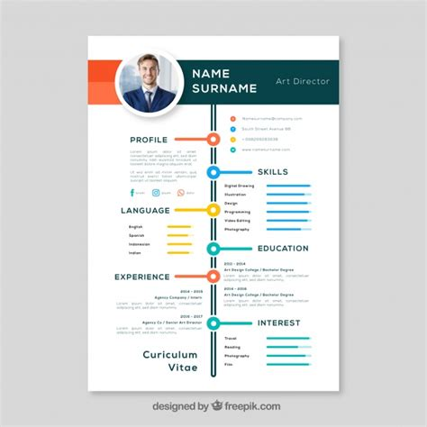 Colorful Resume Templates by Colorful Resume Template Vector Free