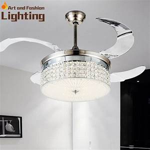 Invisible fan blades crystal ceiling light dimmer