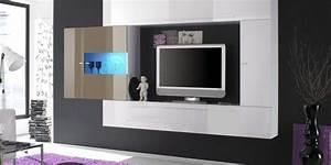 Meuble Tv Mural Blanc : meuble tv laque blanc et taupe solutions pour la ~ Dailycaller-alerts.com Idées de Décoration