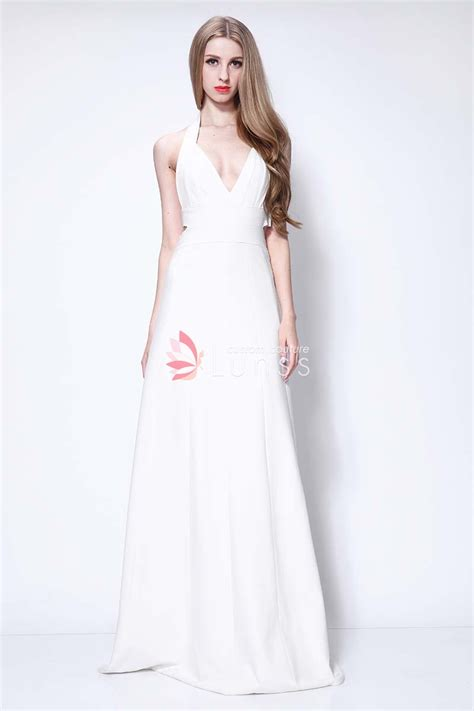 Halter Vneck White Aline Evening Prom Dress  Lunss Couture. Indian Wedding Dresses Muslim. Satin Couture Wedding Dresses. Short Red Wedding Dresses Uk. Wedding Dresses Italian Style. Casual Wedding Dresses With Long Sleeves. Vintage Wedding Dresses Rhode Island. Red Wedding Gown Designers. Chiffon Wedding Dress Usa
