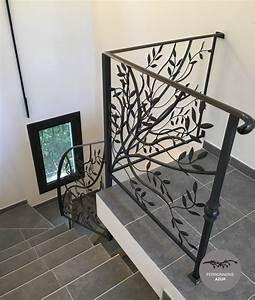 Garde Corps Escalier Fer Forgé : rampe d 39 escalier sur mesure en fer forg nice cote d 39 azur ~ Nature-et-papiers.com Idées de Décoration