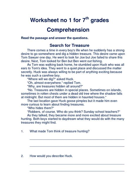 free printable 7th grade reading comprehension worksheets