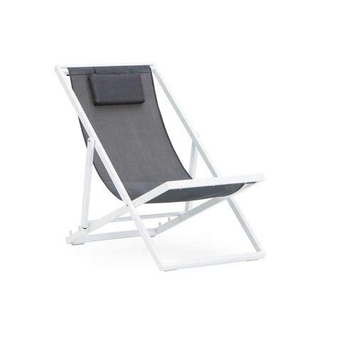 chaise textilene chaise longue pliante jardin aluminium blanc et textilene