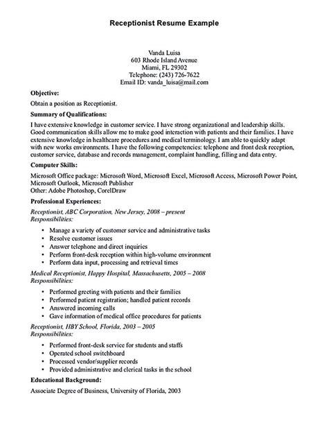 receptionist resume template receptionist resume is