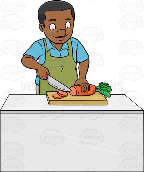 Pants For Kitchen by A Black Man Chopping Carrots Cartoon Clipart