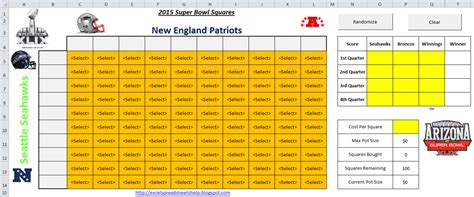 excel spreadsheets   super bowl squares