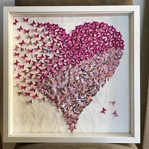D butterfly heart wall art frame paper