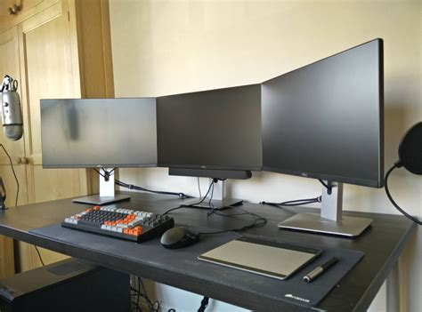 office desk setup ideas all in black gaming computer desk setup with triple
