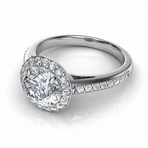 round halo pave diamond engagement ring With diamond pave wedding ring