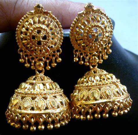 south indian bridal 22k gold plated 4 cm bead drop jhumka earrings ebay