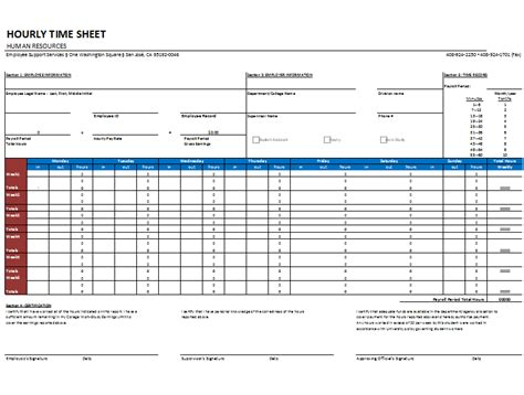 hourly timesheet template  weekly  monthly basis