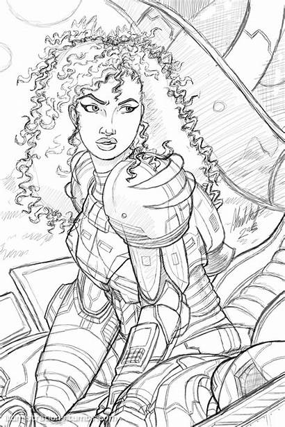 African American Sketch Samus Coloring Dope Pages