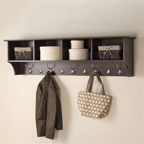 coat hooks with shelf shop prepac furniture espresso 9 hook wall mounted coat