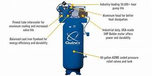 Quincy Compressor Reciprocating Air Compressor 5 Hp 230v