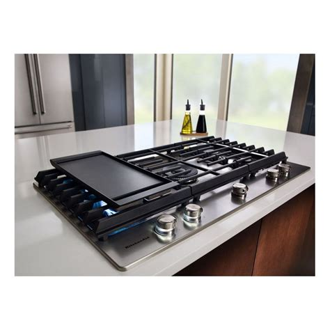 """KCGS956ESS KitchenAid 36"""" Gas Cooktop with Griddle"""