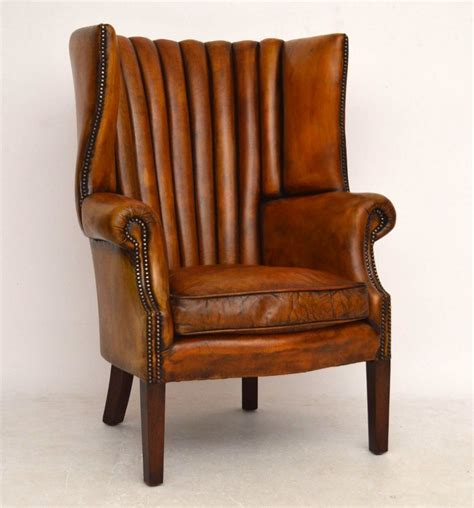 antique leather chair antique leather ribbed back wing armchair 301762 1287